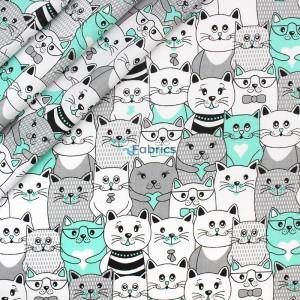 tkanina bawełniana koty w kinie zielone zakładka