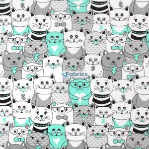 tkanina bawełniana koty w kinie miętowe