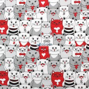 tkanina bawełniana koty w kinie czerwone