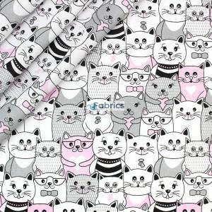 tkanina bawełniana koty w kinie różowe zakładka