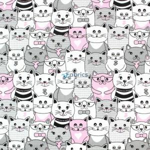 tkanina bawełniana koty w kinie różowe