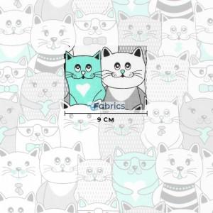 tkanina bawełniana koty w kinie miętowe rozmiar