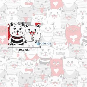 tkanina bawełniana koty w kinie czerwone rozmiar