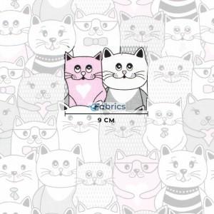 tkanina bawełniana koty w kinie różowe rozmiar