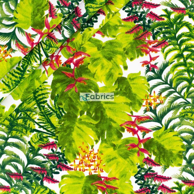 Tkanina bawełniana Liście palmowe z kwiatami na białym tle