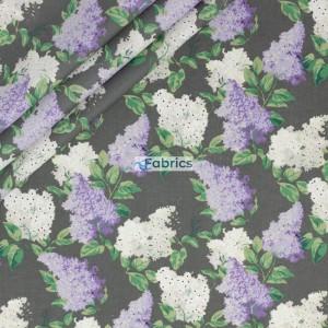 Tkanina bawełniana Kwiaty bzu fioletowe na szarym tle