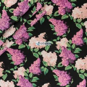 Tkanina bawełniana Kwiaty bzu różowe na czarnym tle