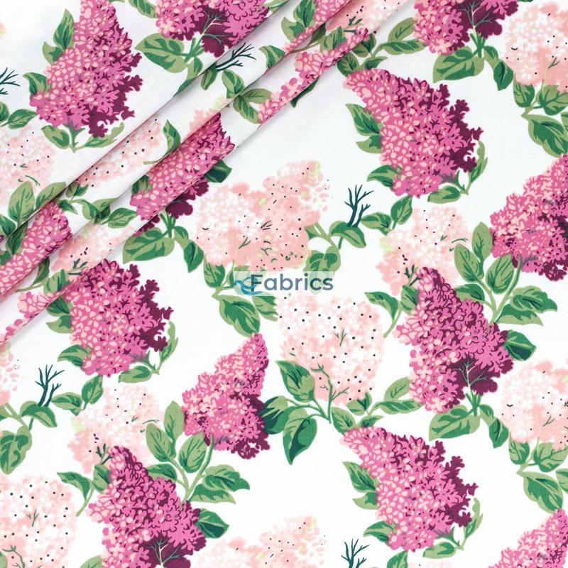 Tkanina bawełniana Kwiaty bzu różowe na białym tle