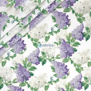 Tkanina bawełniana Kwiaty bzu fioletowe na białym tle