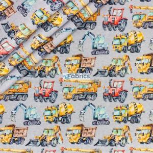 Maszyny budowlane na szarym melanżowym tle