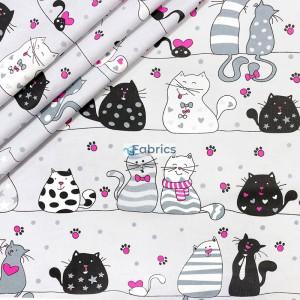 Koty na czarnych liniach na szarym tle
