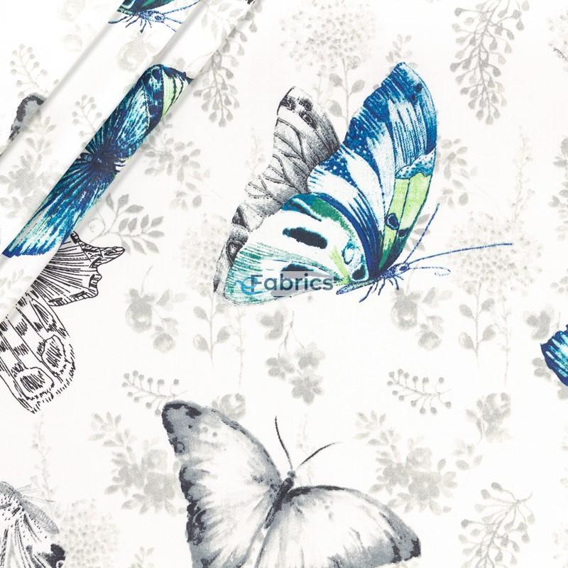 Motyle niebieskie i czarne na beżowym tle