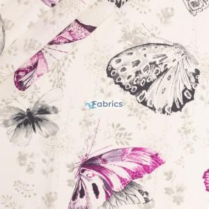 Motyle różowe i czarne na beżowym tle