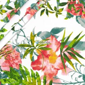 Kwiaty różowe z liśćmi na białym tle