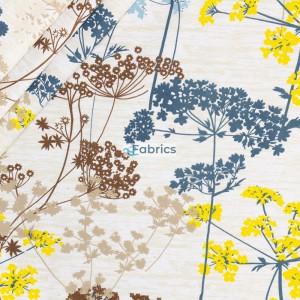Kwiaty kopru niebieskie żółte i brązowe