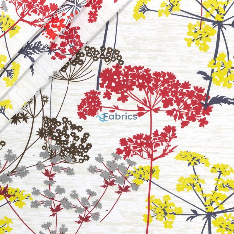 Kwiaty kopru czerwone żółte i brązowe