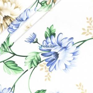 Niebieski i beżowe kwiaty z liśćmi