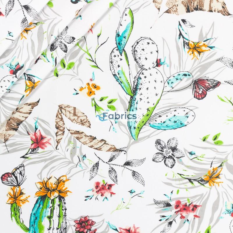 Kaktusy i kwiaty opuncji na białym tle