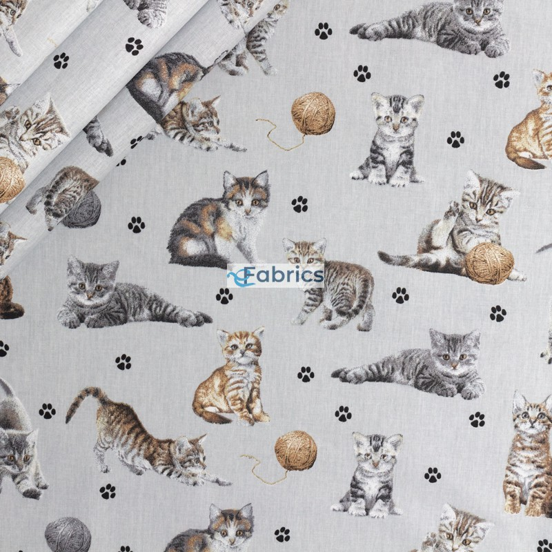 Kotki z włóczką na jasnoszarym tle