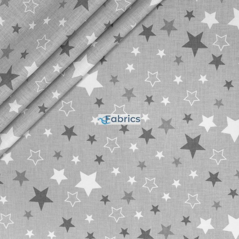 Szare i białe gwiazdki na jasnoszarym tle