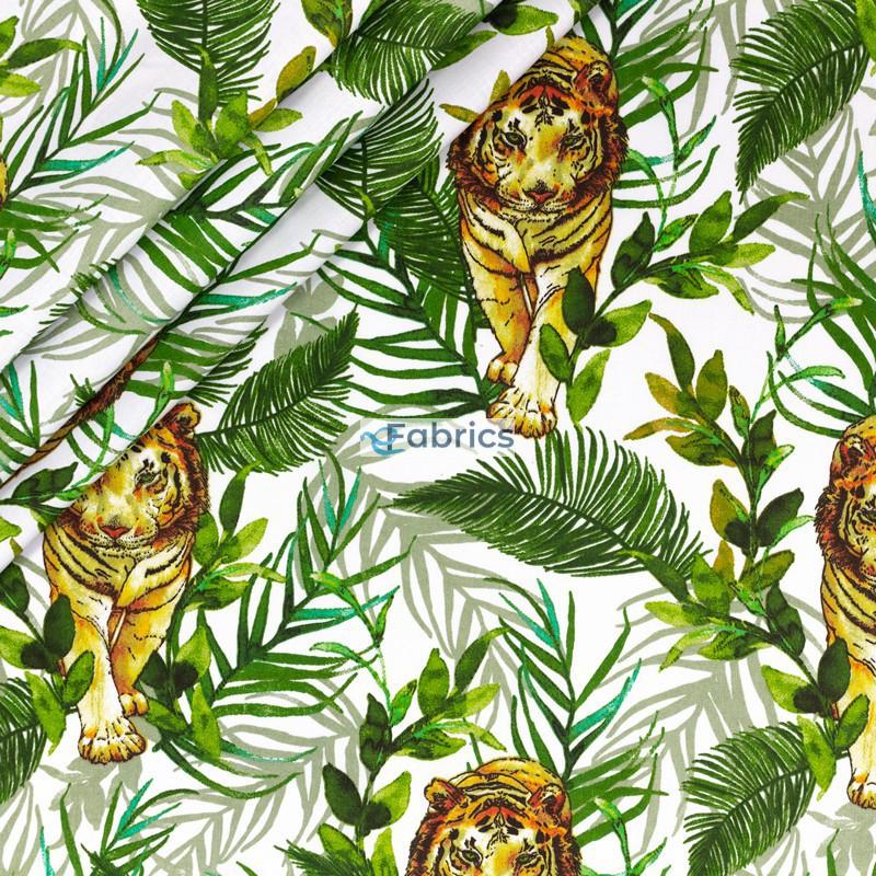 Tygrysy i liście na białym tle