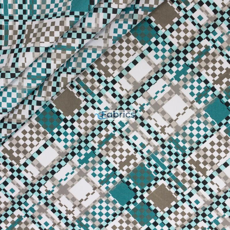 Turkusowe szare i białe kwadraty