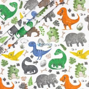 Kolorowe dinozaury na białym tle