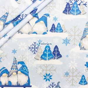 Świąteczne skrzaty z niebieskimi czapeczkami