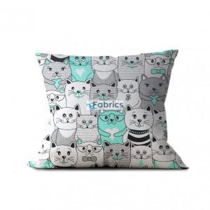 tkanina bawełniana koty w kinie miętowe wizualizacja