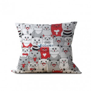 tkanina bawełniana koty w kinie czerwone wizualizacja