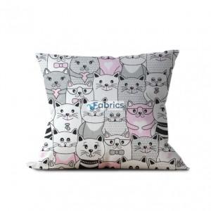 tkanina bawełniana koty w kinie różowe wizualizacja