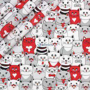 tkanina bawełniana koty w kinie czerwone zakładka